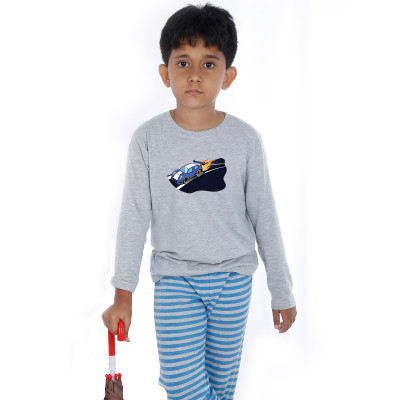 Grey Full Sleeve Boys Pyjama - Hot Wheels